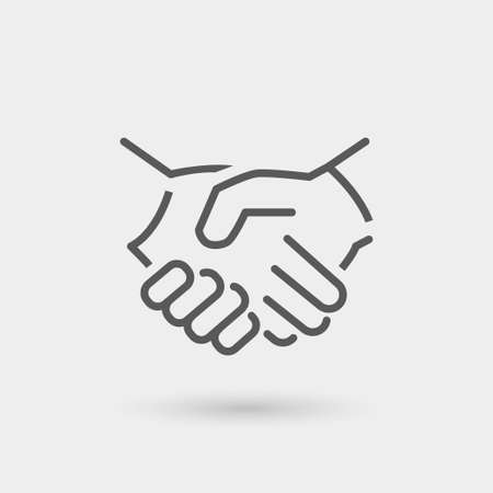 business teamwork: business icon handshake, thin line, black color with shadow