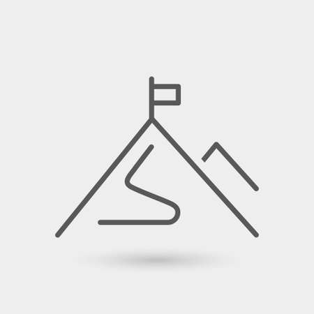 mission icon isolated, thin line, black color with shadow Illustration