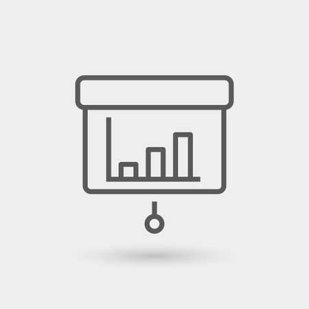 statistics icon: statistics icon isolated, thin line, black color with shadow