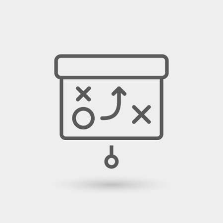 tactics: tactics icon isolated, thin line, black color with shadow Illustration