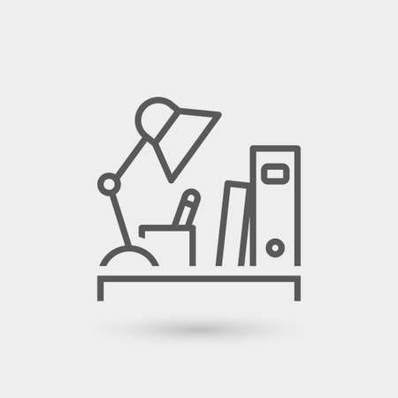 workspace: workplace icon isolated, thin line, black color with shadow Illustration
