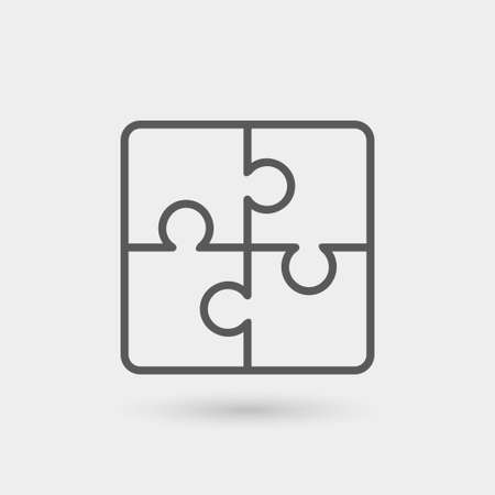 solutions icon isolated, thin line, black color with shadow