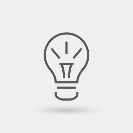 idea icon isolated, thin line, black color with shadow
