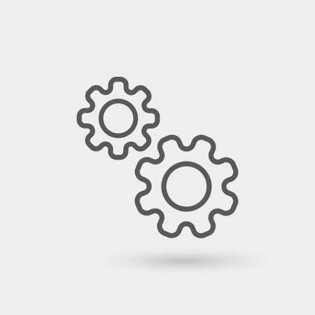 gear symbol: production icon isolated, thin line, black color with shadow