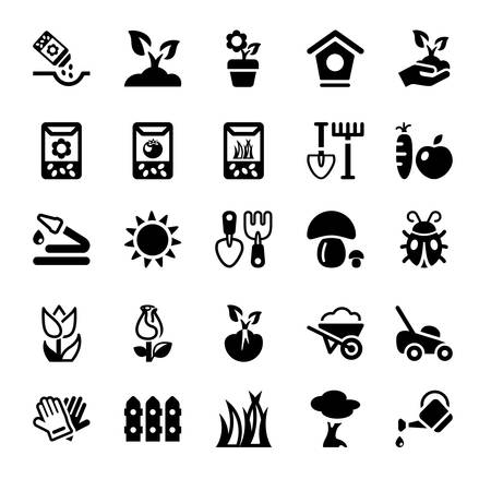 cropland: flat icons set for gardening and agriculture, isolated, black color