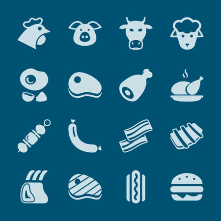 pork rib: meat blue icon set isolated, for restaurant and commerce Illustration
