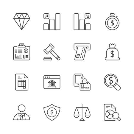 finance icons: money and finance icons set thin line isolated Illustration