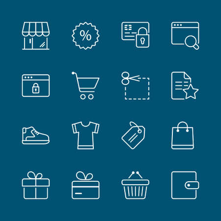 shopping icon: shopping icons set, thin line, white color isolated