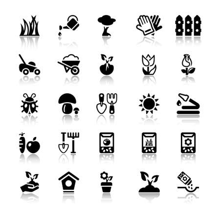gardening: flat icons set for gardening and agriculture, isolated, black color with reflex