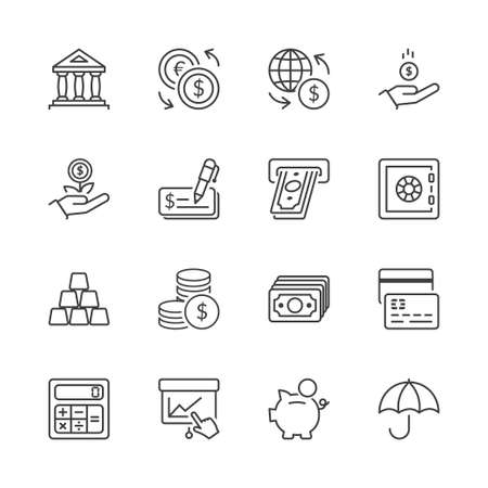 money and finance icons set thin line isolated Vettoriali