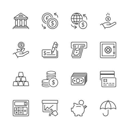 pieniądze: pieniądze i finansowe ikony zestaw cienka linia izolowane