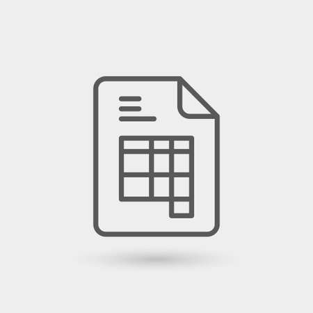 invoice thin line icon isolated with shadow