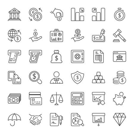 money and finance icons set thin line isolated Vectores