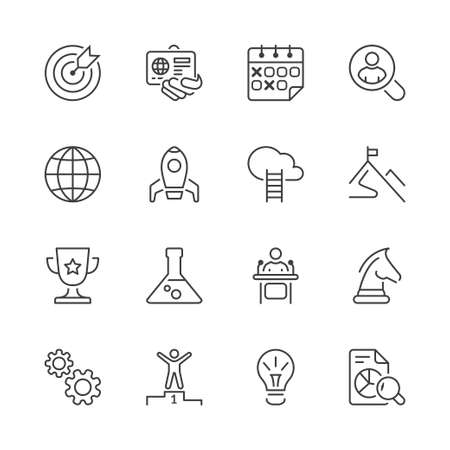Thin line icons set. Flat symbols about business Illusztráció