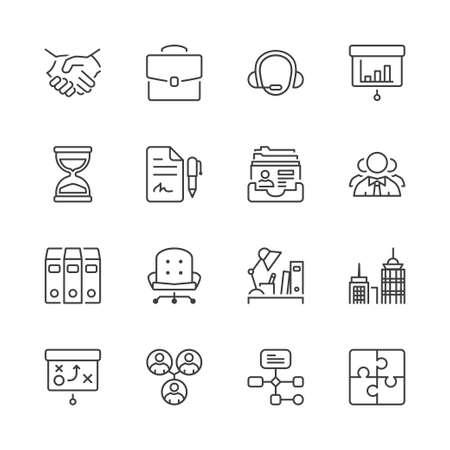 Dunne lijn iconen set. Flat symbolen over het bedrijfsleven