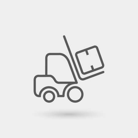 ikona cienka linia wózka widłowego wyizolowana z cieniem
