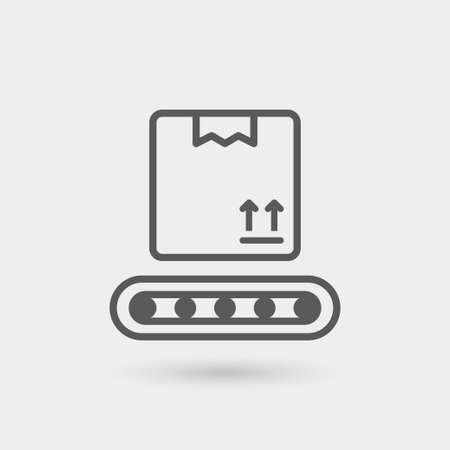 conveyer: box in preparation thin line icon isolated with shadow Illustration