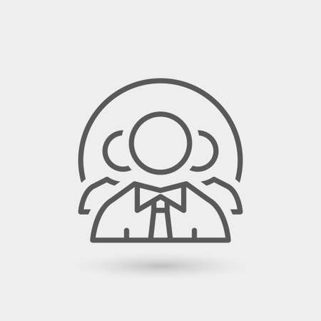 job icon: staff icon isolated. gray color with shadow Illustration