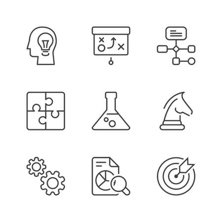 management and strategy icons set, thin line, black color