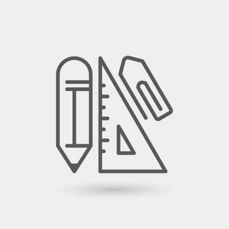 isolated on gray: office supplies icon isolated. gray color with shadow