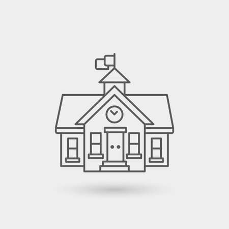 school icon: school house icon isolated. gray color with shadow