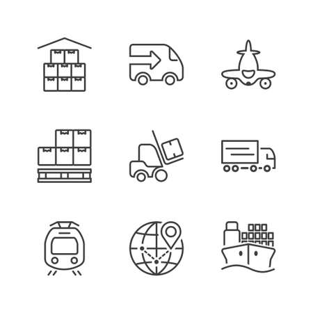 set of thin line icons isolated for logistics and transport