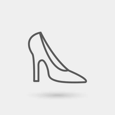 ladies shoes: heeled shoe icon, thin line, black color with shadow