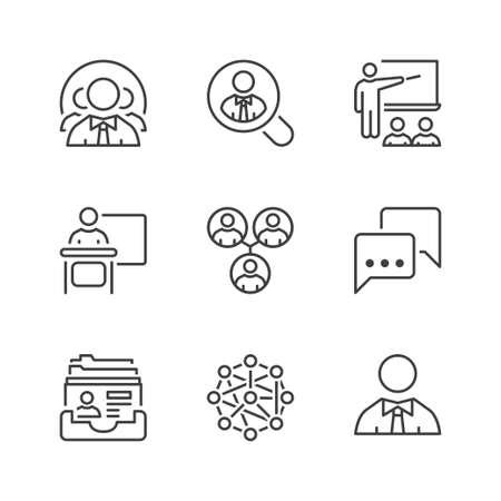 business teamwork icons set, thin line, black color