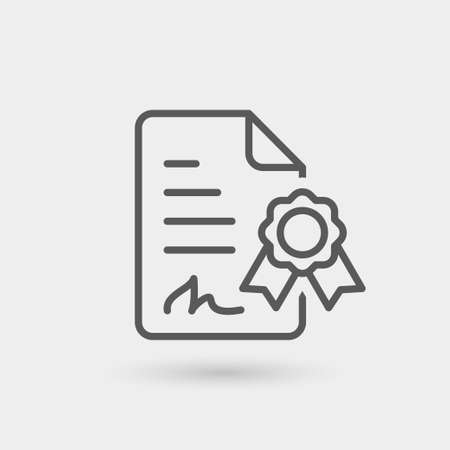 digital signature icon isolated. gray color with shadow