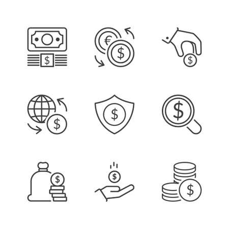 iconos de la moneda establecido, línea fina, de color negro