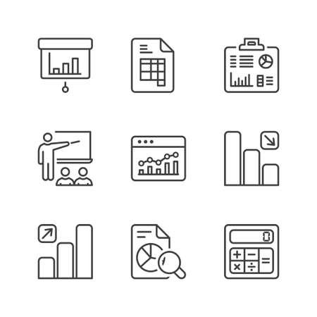 Estadísticas de iconos conjunto, línea fina, de color negro Foto de archivo - 63103483