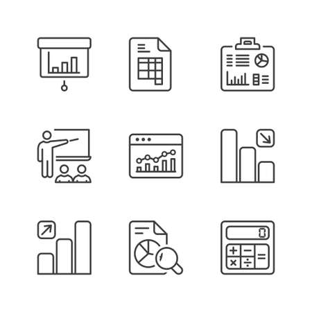 statistics icons set, thin line, black color Illustration