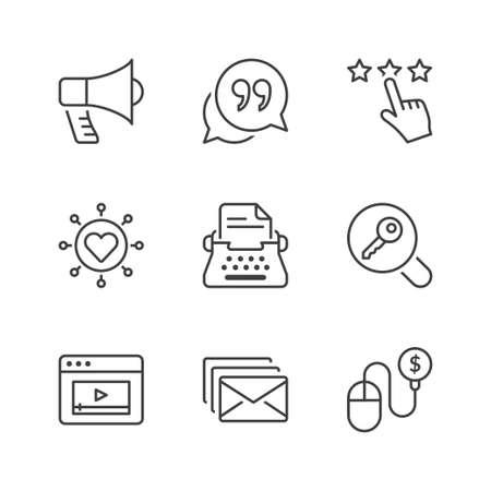 weblog: marketing icons set, thin line, black color