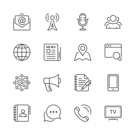 social media & Communication line icons set. black color Illustration