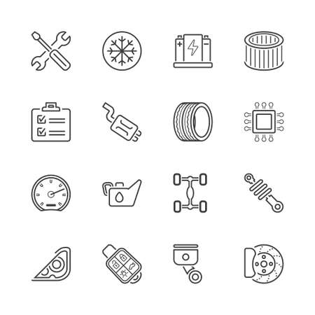 air filter: auto parts and service garage icons set, thin line, black color Illustration
