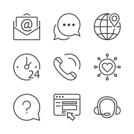 call center, contact icons set, thin line, black color