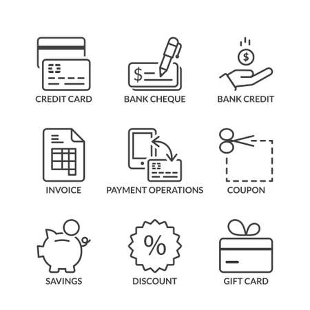 payment methods icons set, thin line, black color