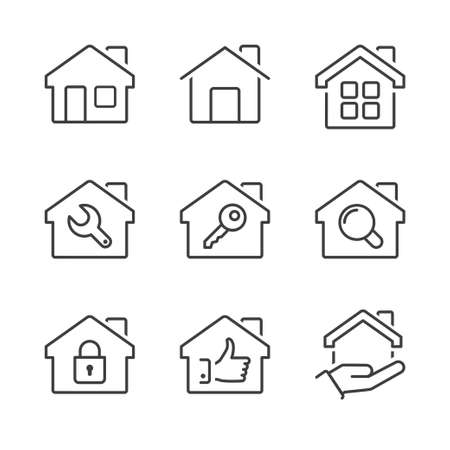 residential home: real estate house icons set, thin line, black color