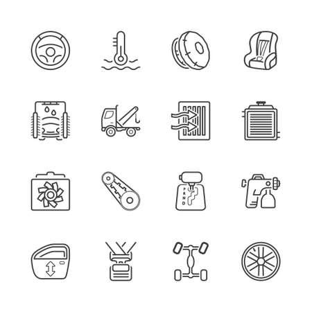 timing belt: auto parts and service garage icons set, thin line, black color Illustration