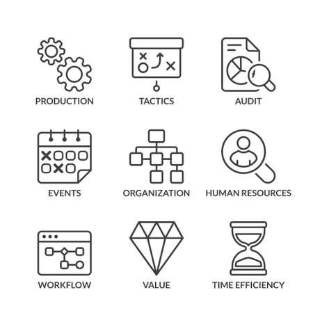 values: business icons set, thin line, black color