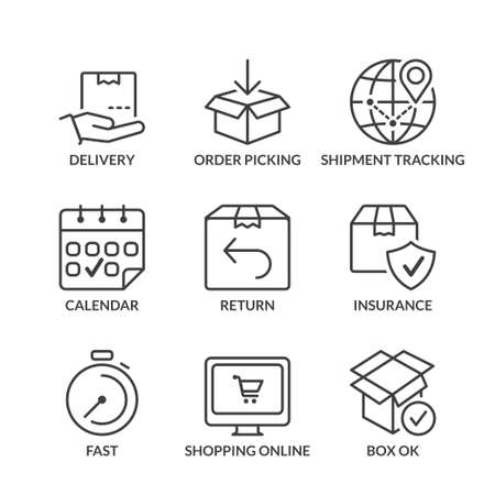 delivery icon: set of thin line icons isolated for logistics and transport