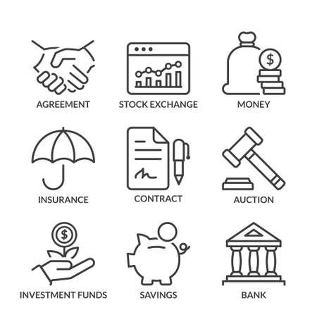 traders: finance icons set, line, black color