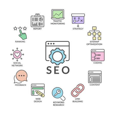 feedback link: search engine optimization infographic process,line icons set, flat colors
