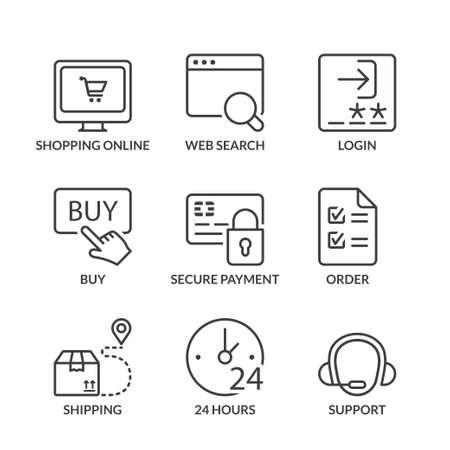 orden de compra: Iconos de las compras en línea establecido, línea fina, de color negro