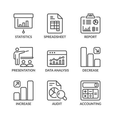 traders: statistics icons set, thin line, black color Illustration
