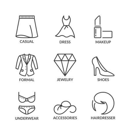 fashion shopping: fashion and shopping icons set, line black color