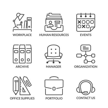 office supply: basic office thin line icon set isolated in black color