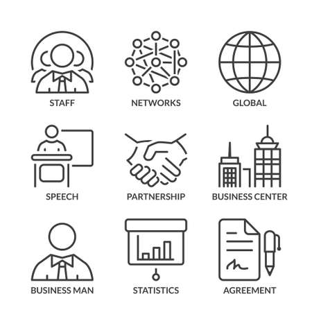 business icons set, thin line, black color