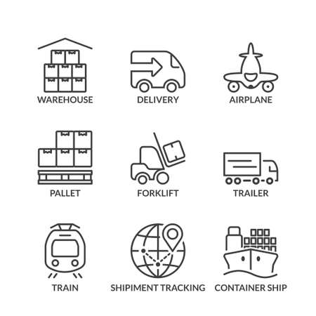 transport icons: set of thin line icons isolated for logistics and transport
