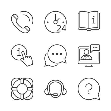 manual: call center, contact and support icons set, thin line, black color Illustration